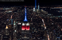 Aerial Tribute in Light - 9/11/16 (DSC09809-Edit) (Michael.Lee.Pics.NYC) Tags: newyork aerial helicopter flynyon esb empirestatebuilding onewtc worldtradecenter night tributeinlight 2016 cityscape architecture 911 sony a7rm2 fe2470mmgm