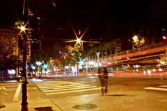 Investions in long exposure (melissa.dehoog) Tags: rain city sanjose california reflective longexposure lights buildings trees street sunset outdoor telephonewires bayarea