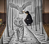Pencil Vs Camera 74 - Making 3 (Ben Heine) Tags: makingof pencilvscamera art 3d benheine drawing dessin studio tiger anamorphosis anamorphose illusion animal sketch giant benheineart tigre owl chouette