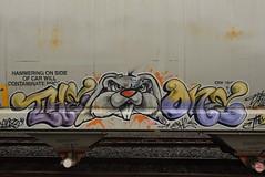 THE ONE (TheGraffitiHunters) Tags: graffiti graff spray paint street art colorful freight train tracks benching benched one rabbit