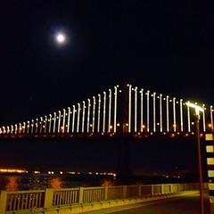Moon over Bay Bridge San Francisco (Fuzzy Traveler) Tags: bridge moon night baybridge embarcadero