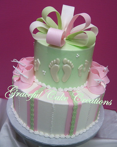 Pink Mint Green And White Baby Shower Cake With Booties And Bow A