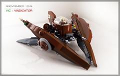 VV - Vindicator | front (Brixnspace) Tags: fighter lego space spaceship vv steampunk vindicator lazor starfighter vicviper nnovvember