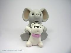 Elephant with Polar Bear (QuernusCrafts) Tags: new pink baby elephant cute girl polarbear polymerclay polar quernuscrafts