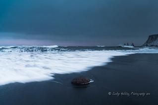 storm over beach, Vik