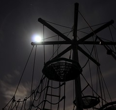 Fly me to the moon and let me play among the stars (Jon_Wales) Tags: moon playground wales night stars climbing frame moonlight