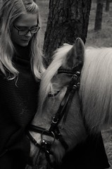 affinity (sulta_nine) Tags: bw horse love girl forest nikon bokeh riding pony nikond7000