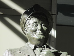 Ralph Kramden on a Sunny Day 3882 (Brechtbug) Tags: new york city winter holiday cold bus weather statue bronze port lunch is jackie uniform day authority january tie sunny front terminal an midtown his while chilly jolly gleason ralph stands drivers straightening pail clutching clad manhattans honeymooners 2015 kramden eightfoottall kramdon 01132015