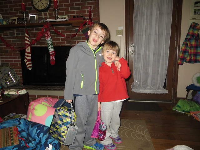 ready for gymnastics camp with big brother