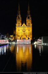 St Mary's Cathedral @ Night, Sydney, Australia (JH_1982) Tags: new light reflection building luz church pool st wales architecture night reflections dark religious lights noche catholic glow darkness cathedral nacht roman lumire south religion sydney australia landmark christian nsw marys glowing christianity australien nuit notte dunkel beleuchtung australie     archdiocese beleuchtet leuchten         sdney