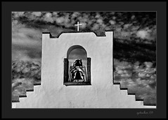 For Whom the Bell Toles (the Gallopping Geezer '5.0' million + views....) Tags: old bw white black detail building history church canon blackwhite worship texas faith religion structure historic adobe elpaso mission 2009 geezer corel
