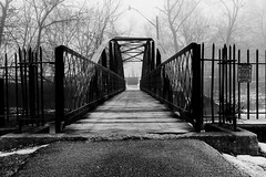 """Lawton Park Bridge"" (D A Baker) Tags: park morning bridge urban white black monument fog creek war iron quiet fuji baker fort wayne january foggy indiana pedestrian run civil blanket da spy shroud fujifilm ft fortwayne lawton conceal ind danielbaker x100s"