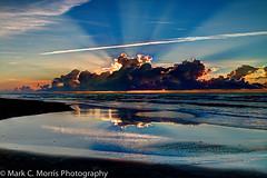 Atlantic Sunrise (Mark C Morris Photography) Tags: ocean reflection beach nature clouds sunrise canon outdoors surf northcarolina ripples atlanticocean sunbeam hdr topsailisland naturephotography surfcity sunstreak eos70d