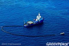Big Oil Clean Up Job (Greenpeace USA 2016) Tags: ocean usa gulfofmexico louisiana ship gulf shell greenpeace aerial oil drilling skimming fossilfuel breakfree cleanenergy portfourchon