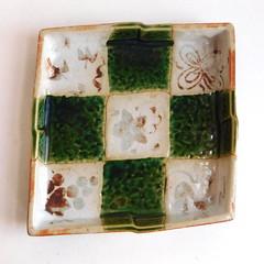 Vintage Mid-Century Art Pottery Shallow Ceramic Dish (karalennox) Tags: modern vintage square ceramic pottery 1960s etsy checkered artisan midcentury checks artpottery trinketdish