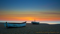 Aldeburgh Sunrise (welshmanwandering1) Tags: morning blue light sea summer england orange seascape beach nature water sunrise canon landscape boats dawn suffolk seaside britain great may pebbles gb fishingboats dreamscape 2016 5dmark3