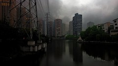 Bad boys (Chongqing) (Slonya) Tags: sky lake boys water lines buildings landscape power bad gang giants chongqing highrises