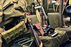 Guns & ammo (Steve.T.) Tags: stilllife magazine war jeep guns bullets ammo reenactment machinegun ammunition weapons wartime browning carbine worldwartwo tommygun weaponary tooledup cressing militaryshow beltammo worldwartworeenactment d7200 templeatwar taw16 thompsommachinegun holsteredpistol
