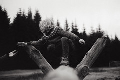 * (Dalla*) Tags: wood boy portrait bw white black wool nature outside outdoors climb sweater kid woods child hand forrest climbing help helping climp icelanic dallais