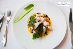 Butter poached swordfish, sauce Bretonne, black olive oil, crisp kale (thewanderingeater) Tags: atlanta dinner georgia buckhead finedining restauranteugene