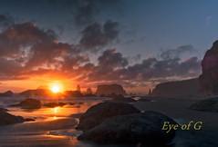Low Tide Sunset.jpg (Eye of G Photography) Tags: sunset orange usa beach water oregon waves northamerica bandon rockformations skyclouds facerockbeach