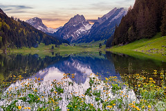Smtisersee (photoart-lang) Tags: sunset sea summer mountain mountains color water colors landscape switzerland spring colorful swiss hill hills springtime