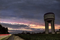 (Paul B0udreau) Tags: road longexposure sunset building germany traffic watertower bluehour lightstream ramsteinmiesenbach skulduggeryafoot