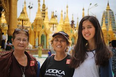Three generation portrait at Shwedagon Pagoda (Bn) Tags: myanmar birma burma yangon rangoon former capitol street candid monk bikes taxi city six million people buddhist temple botataung pagoda botahtaung gautama buddha hair 2500 years old religions locals 40m high seaport dazzling road car gold kyats umbrella sunshine fietstaxi gate entree hollow destroyed rebuild colonial overwhelmed infrastructure slums pilgrims buddism traffic cycling shwedagonpagoda 2600years 99m cars busy