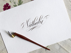 Nathalie. (Syntax One) Tags: walnut calligraphy copperplate nikkog