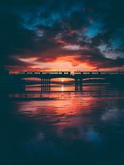 bournemouth pier sunset (Matt Northam) Tags: beach clouds coast dusk light mood pier reflection sand sunset symmetry water