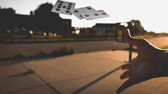 Day 212 (IsJacobi) Tags: cards fastshutter hand shutter flying floating toss