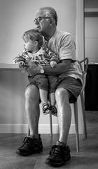 Grandad and grandson (Time to try) Tags: grandson grandfather blackandwhite portrait naturallight lumix panasonic prime 25mmf18olympus topaz alienskin olympus gx8 age