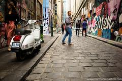 Parting Ways - Melbourne Laneways - Australia (Keystone Photography) Tags: repacholi keystone leicam240 melbourne victoria australia urbanlife scooter cobblestone bluestone separate graffiti candid street