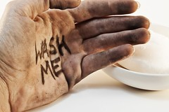 Copyright: <a href='http://www.123rf.com/profile_eye4detail'>eye4detail / 123RF Stock Photo</a> (FashionablyLathered) Tags: hand dirt washme wash grungy soiled fingers palm skin dust grime soap soapdish white flu cold bacteria virus copyspace background dirty isolated hygiene caucasian closeup health work finger prevention worker care concept unclean job germs sanitary black fingerprint person one clean dark disinfect lifestyle contaminate sterile handwash bathroom grunge filth