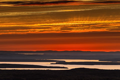 Sunset from Cadillac Mountain (Bar Harbor, Maine) (*Ken Lane*) Tags: geo:lat=4435199863 geo:lon=6823068202 geotagged ottercreek unitedstates usa acadia acadianationalpark attraction barharbor barharbormaine cadillacmountain clouds cloudysky eastcoast hancockcounty hancockcountymaine horizon landscape lookout maine mdi mountdesertisland mountain mountainview nationalpark nature nikon northeastatlantic northeastunitedstates northeasternunitedstates observationpoint outdoor overlook scenicoverlook scenicview sky sunrays sunset touristattraction tourists travel travelphotography nikonflickraward