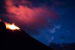 Stromboli 2 (gsamie) Tags: 600d aeolianislands canon guillaumesamie isoleeolie italy rebelt3i sicilia sicily stromboli blue cloud eruption fire gsamie lava longexposure mountain night red sky stars volcano