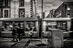Jervis Street (Dyn Photo) Tags: tram dublin transport black white jervis