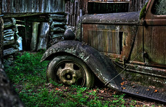 Ready To Roll....Well, Maybe Not  :) (jrussell.1916) Tags: trucks rustic rusty tires barns hdr hdrvehicles photomatixessentials tennessee canonefs1755f28is