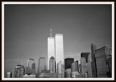 Twin Towers, N.Y (Old Scan) (crashcalloway) Tags: newyork ny manhattan usa twintowers skyscrapers skyline blackwhite bw monochrome 35mm scan