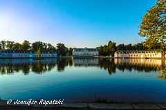 Benrath castle on morning (Bernsteindrache7) Tags: summer panasonic lumix landscape light park sky color city heaven himmel dsseldorf germany nrw water wasser weather flora fauna tree panorama