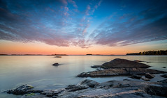 Kallvik (Mika Laitinen) Tags: canon7dmarkii europe helsinki kallvik leefilters scandinavia suomi tokina1116mm vuosaari beach blue calm cliff cloud color colorful landscape longexposure nature ocean outdoor rock sea seascape serene sky sunset water wideangle uusimaa finland fi