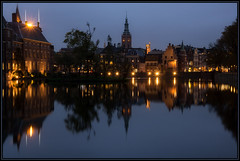 Blue hour The Hague (Ciao Anita!) Tags: reflection tower netherlands pond torre nightshot toren nederland denhaag bluehour reflexions thehague olanda hofvijver vijver riflesso binnenhof zuidholland weerspiegeling laja stagno avondopname orablu nachtopname haagsetoren eerstekamer blauweuurtje theperfectphotographer scattonotturno