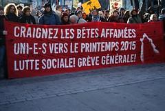 Marche contre l'austérité (celinemarsolais) Tags: street montréal montreal police cop rue pancarte marche manifestation antiémeute banière marcheurs policeàbicyclette