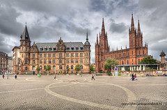 Wiesbaden (Jan Kranendonk) Tags: old city travel sky people sunlight church architecture buildings germany square deutschland town europe wiesbaden cathedral cloudy cityhall scenic landmarks sunny german historical townhall hdr rebuilt marktkirche