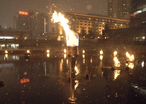 Ceremonial Lighting Torch at WaterFire. Built by WaterFire volunteer Jen Bonin with some help from her Dad, given as an incredible gift to WaterFire's creator, Barnaby Evans. Photo by John Nickerson.