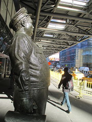 Ralph Kramden on a Sunny Day 3634 (Brechtbug) Tags: new york city winter holiday cold bus weather statue bronze port lunch is jackie uniform day authority january tie sunny front terminal an midtown his while chilly jolly gleason ralph stands drivers straightening pail clutching clad manhattans honeymooners 2015 kramden eightfoottall kramdon 01082015