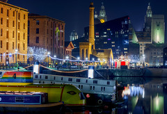 Christmas with Albert (alundisleyimages@gmail.com) Tags: christmas decorations colour reflection water architecture liverpool buildings reflections boats waterfront transport craft canals albertdock attraction merseyside liverbuilding placeofinterest salthousedock canalbarges