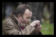 Pipe man lights up (Frank Fullard) Tags: street ireland portrait irish candid pipe ritual smoker ballinasloe anotherworld fullard frankfullard