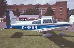 G-BERM - 1977 build Grumman-American AA-5A Cheetah, displayed at the 1977 Business and Light Aviation Show at Cranfield (egcc) Tags: american cheetah 1977 cranfield grumman aa5 lycoming aa5a o320 0352 egtc businessandlightaviationshow n6141a aa5a0352 grcpw gocpl gberm gbeuw