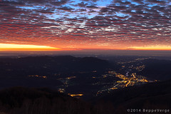 Great sunrise over my town (beppeverge) Tags: clouds sunrise nuvole alba awesome piemonte cloudysky valsesia borgosesia spettacolare pianurapadana cielonuvoloso sesia tovo montetovo beppeverge